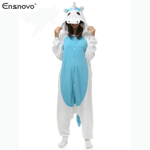 Ensnovo Women Unicornio Cartoon Winter Sleepwear Sloth Onesie Hooded Pajamas Adult Full Body Cosplay Costumes