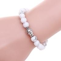 Fashion Men Women plating silver chain bracelet Crystal stone Buddha head DIY beaded bracelet jewelry gift