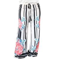 Plus Size Women Loose Floral Striped Wide Leg Pants 2017 Fashion Elastic Waist Trousers Full Length Mid Waist Pant Free Shipping