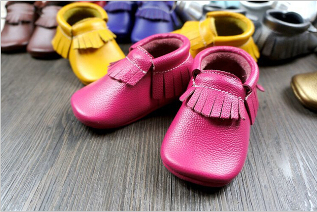 New Colour  fringe Genuine Leather Baby Moccasins Soft Baby Shoes First Walker Chaussure Bebe Newborn Shoes Free shipping