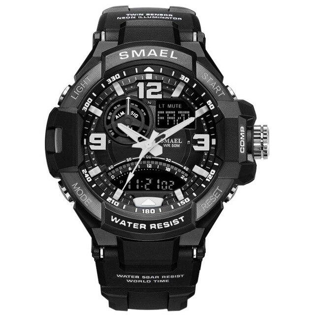 Sport Watch Men Army SMAEL Black Watch White S Shock relogio masculino Quartz Watches Military 1516 Man Waterproof Sports Watch