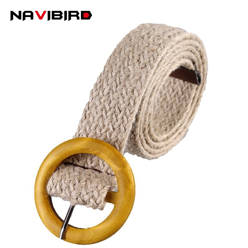 Apparel Accessories Able Vintage Casual Wide Belt Women Hemp Knitting Wax Rope Round Ring Pin Buckle Decoration Waist Belt All-matched Brede Riem Discounts Price