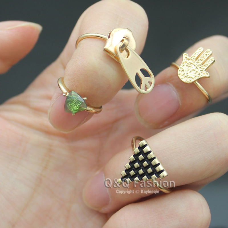 set 4 gold egyptian pyramid hamsa hand zipper peace knuckle midi ring jewelry 2017 new - Egyptian Wedding Rings