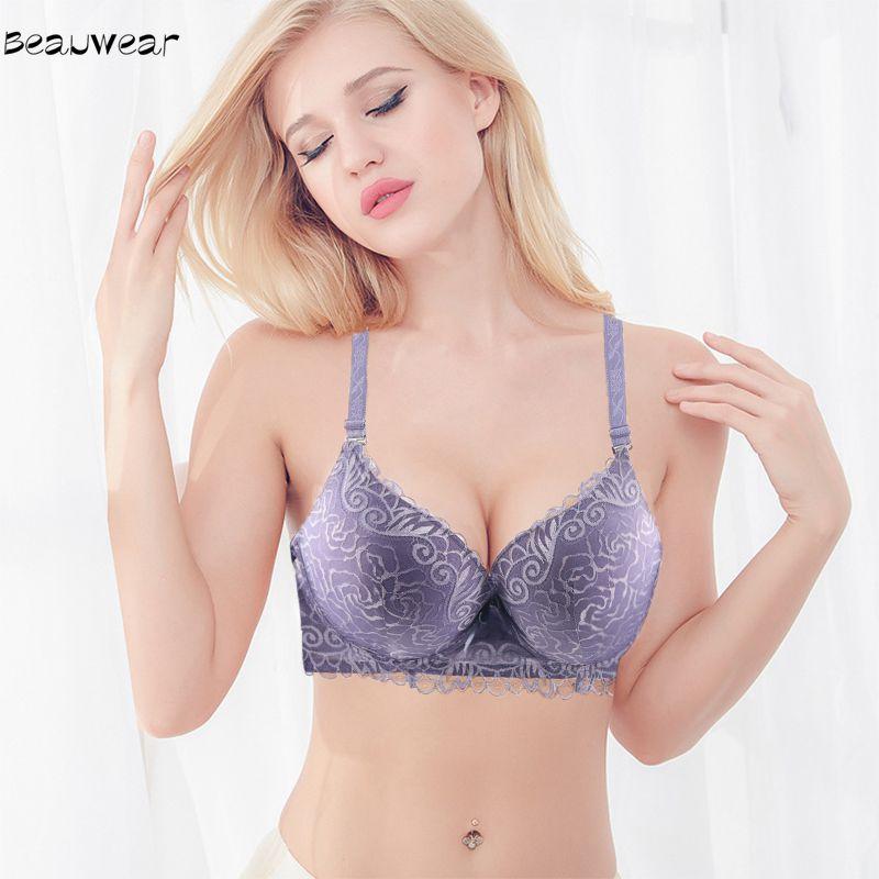 906836ac7dba8 Beauwear Women Underwear Lace Lingerie Top Large Size Big Breast Bra Sexy  Women Bras 3 4 Cup Underwire Push Up Bralette 90C-115D