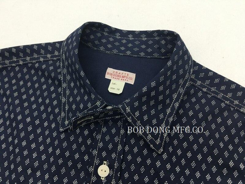 Erkek Kıyafeti'ten Rahat Gömlekler'de Bob Dong 1920 s Wabash Indigo Iş Gömlek Vintage Düğme Aşağı Uzun Kollu Casual Gömlek'da  Grup 3