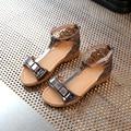 Sandalias de las muchachas Zapatos de Las Niñas 2017 Nuevo Verano de La Princesa Zapatos de Las Muchachas Ocasionales Niños Sandalias de Punta Abierta Niñas Zapatos Planos de Tamaño 26-30