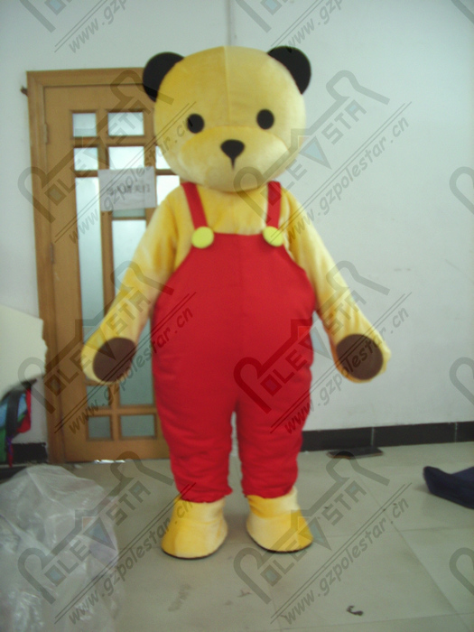 Red suspenders yellow bear mascot costume cartoon teddy bear mascot costumes