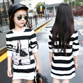 2016 autumn children's clothes girls t-shirts stripe long section thin cotton girl pullovers t-shirts for girls big kids tops