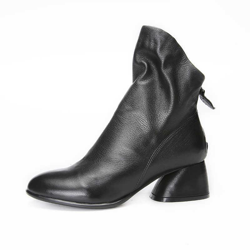VALLU 2018 hakiki deri kadın çizmeler yuvarlak ayak düşük topuklu pilili doğal cilt bayan ayakkabıları yarım çizmeler siyah artı boyutu 41