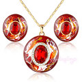 Mytys Retro Vintag Red  Oval Crystal Enamel Necklace and  Earrings Jewelry Set N919