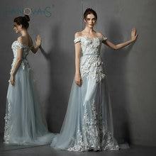 Off Shoulder Blue Evening Dresses 3D Flowers Evening Gowns With Detachable Train Prom Dress 2019 Vestido de Fiesta de Noche