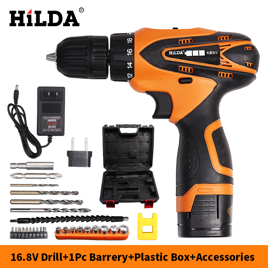 HILDA 16.8V Electric screwdriver Lithium Battery*1 Electric Drill Furadeira Cordless Screwdriver Power Tools with drill bit case