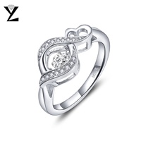 Best Friend Gift Top Quality 925 Sterling Silver Infinity Ring With Dancing CZ Diamond Ring Wholesale