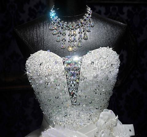 BANVASAC 2017 Nieuwe Luxe Kristallen Strapless Trouwjurken Mouwloze - Trouwjurken - Foto 6