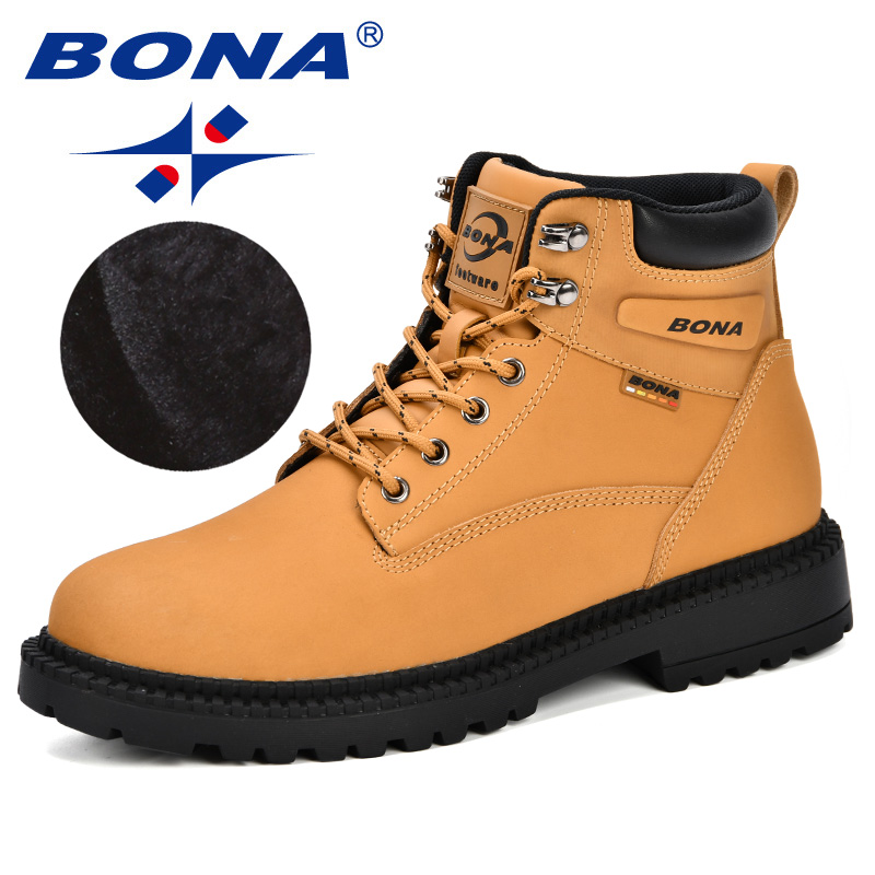 BONA New Designer Winter Boots Men Nubuck Leather Unisex Style Fashion Work Shoes Lover Martin Boots