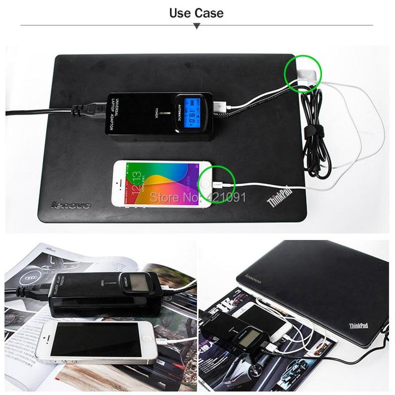LCD troisième génération intelligente multifonctionnelle universelle alimentation maison ou chargeur de voiture adaptateur pour ordinateur portable 90W avec USB2.4A pour téléphone - 4