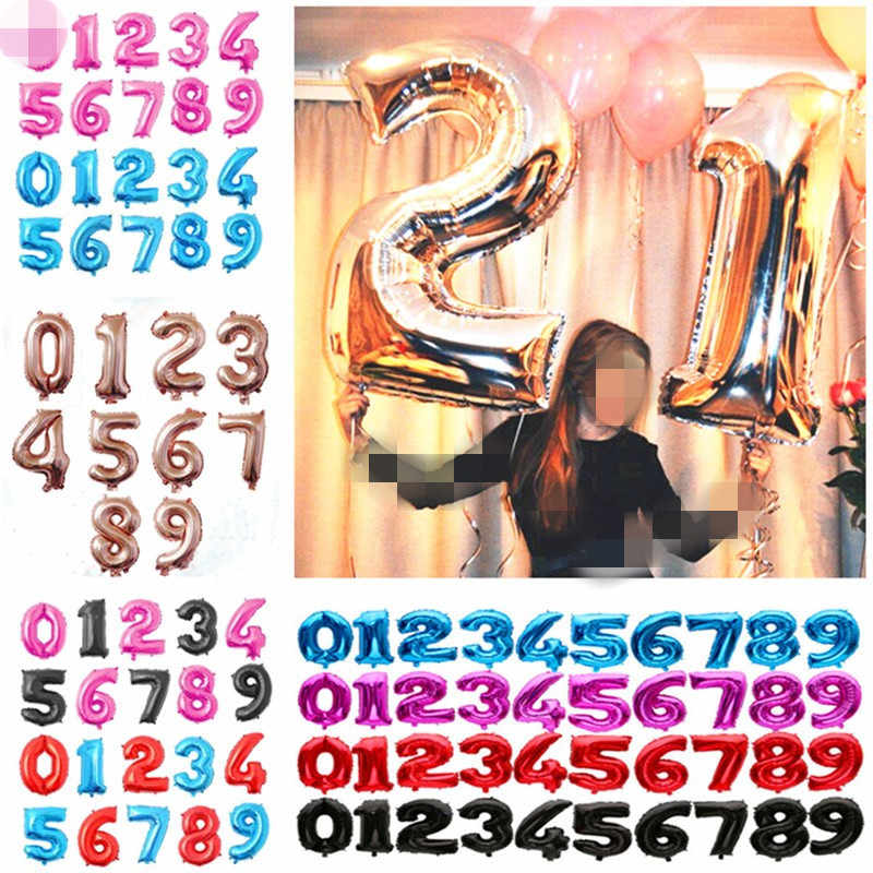 32 40 Inch Rose Gold Foil Number Balloon Birthday Party Decorations Kids Air Balls Wedding Figure Balloon Happy Birthday Balloon