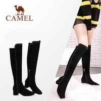CAMEL Over The Knee High Winter Thigh High Boots Women Shoes Fashion Rivet Suede Warm Round Toe High Heel Woman Plush Long Boots