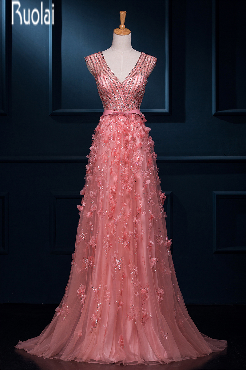 New Arrival Charming 2016 Pink Tulle Heavy Beading V Neck A Line Bow Zipper Back Formal Long   Evening     Dresses