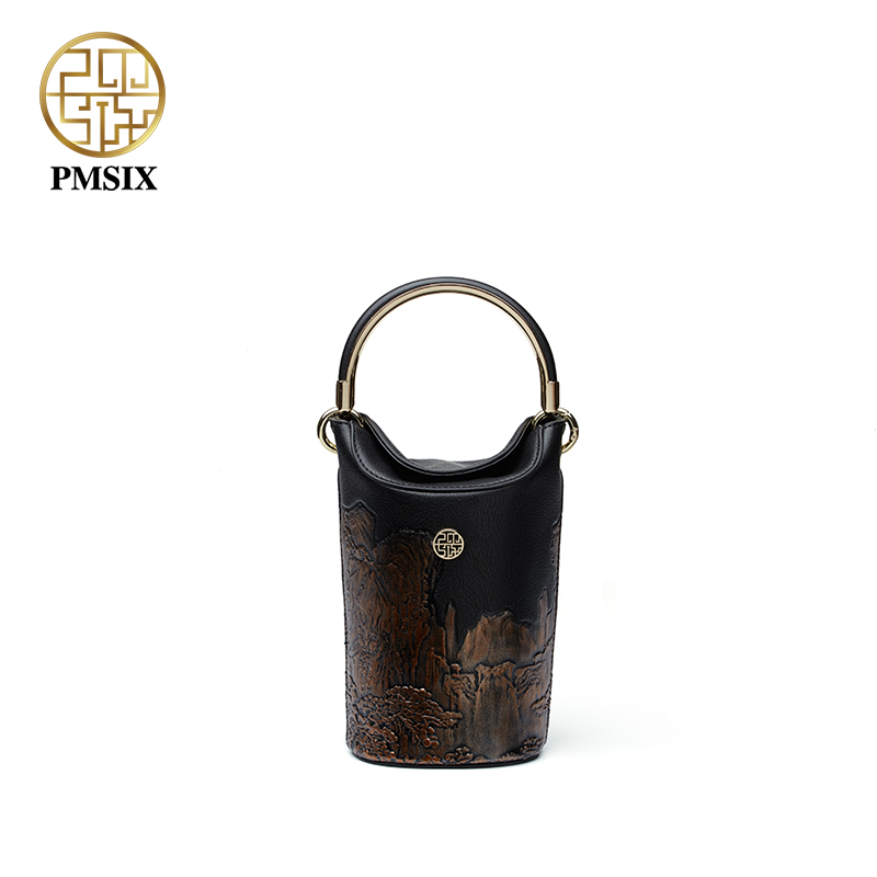 Pmsix luxurious ladies bags New fashion Mini bucket bag original designer handbags Socialite High quality leather