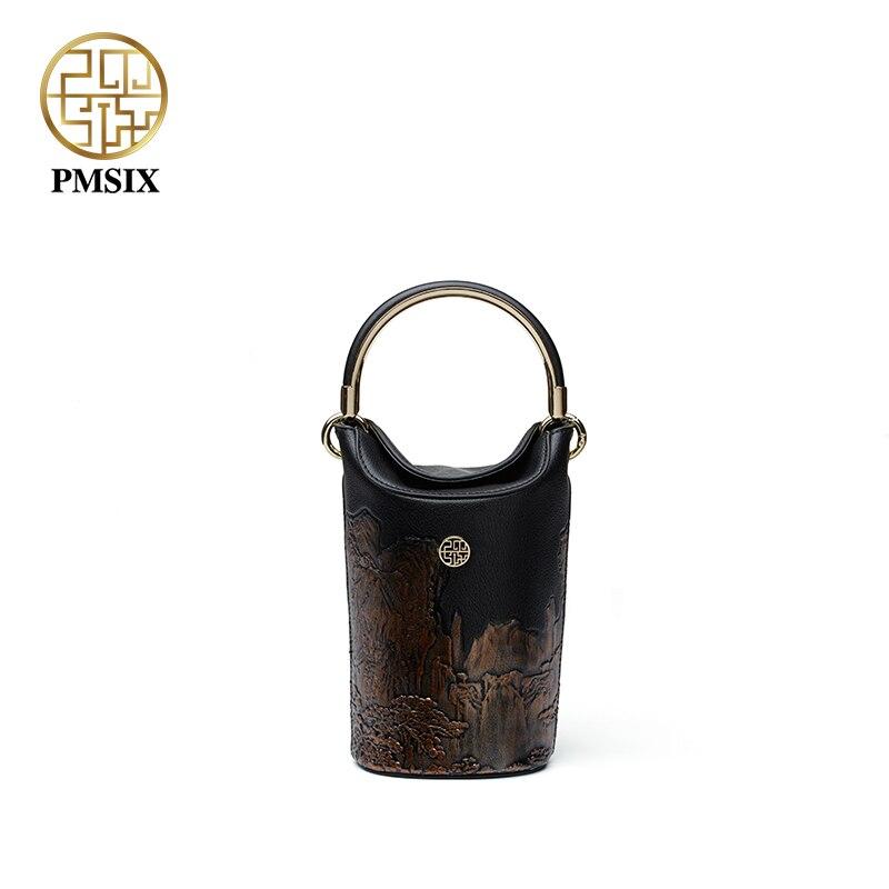 Pmsix lujosas bolsas de mujer nueva moda Mini bolsa de cubo bolsos de diseño original bolsa de cuero de alta calidad P120148-in Cubos from Maletas y bolsas    1