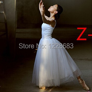 Image 2 - جديد إمرأة كلاسيكي محترف طويل باليه غنائي فستان رقص راقصة الباليه توتو تنورة الكبار فستان غنائي طويل