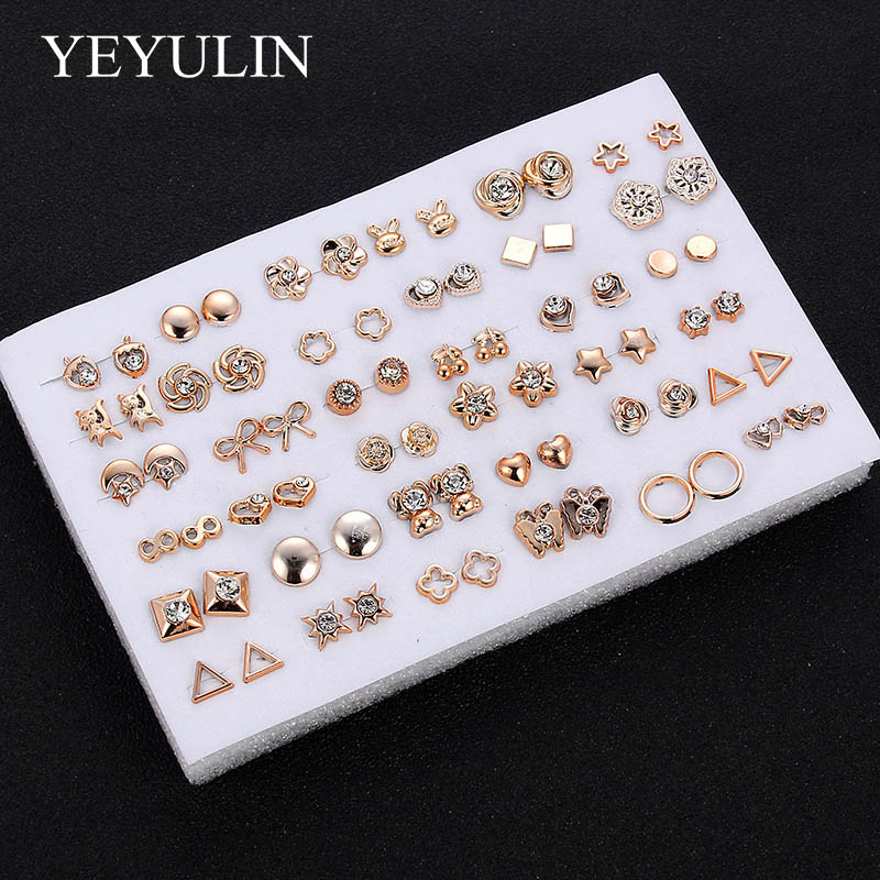 HTB1qoqhX5LrK1Rjy1zdq6ynnpXa3 - 36Pairs/18pairs Earrings Mixed Styles Rhinestone Sun Flower Geometric Animal Plastic Stud Earrings Set For Women Girls Jewelry