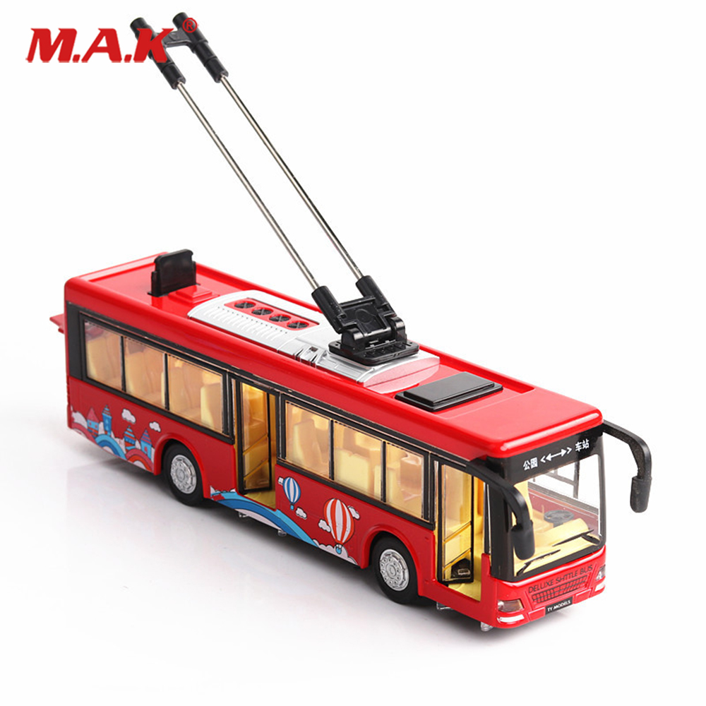 20cm kids toys Alloy sightseeing bus model 1/32 trolley bus diecast tram bus vehicles car toy W light & sound collections(China)