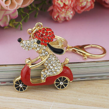 Cool Dog Motorcycle Keychain In Red and Gold Colors