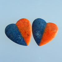 Heart Shape Design Orange Coral Blue Coral Gemstone Cabochon Pairs Bead 25x25x4mm 6 7g