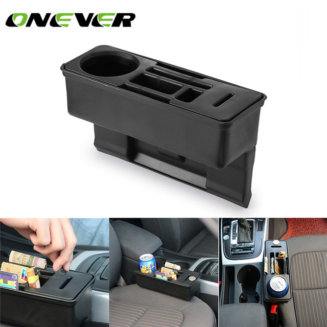Onever Car Console Side Pocket Seat Crevice Storage Organizer Auto Seat Gap Pocket Organizer with Coin Box and Water Cup Holder