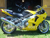 Hot Sales,For Kawasaki NINJA ZX6R 00 01 02 ZX 6R ZX 6R 2000 2001 2002 Yellow Free Customized Fairing Kit (Injection molding)