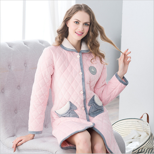Новый Осень Зима пижамы хлопка Утолщение Хлопка-ватник Кардиган нагрудные Халаты женщин Домашней одежды