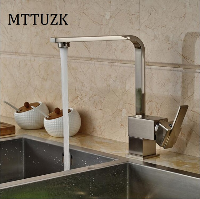 mttuzk deck mounted copper brushed nickel kitchen faucet 360 rotate bathroom table basin faucet hot and