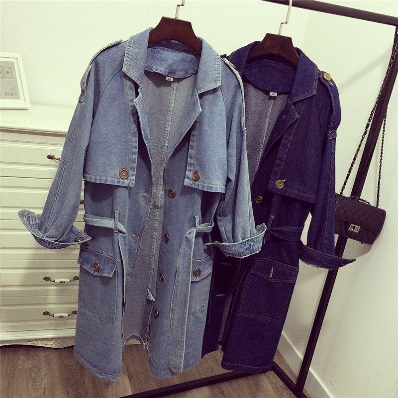 Women Denim Windbreaker Spring Autumn Fashion Women Jackets Coats Loose Long Jeans with belt Female Casual BF cowboy Outwear