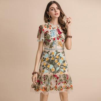 Vestido midi bordado multicolor malla verano flores