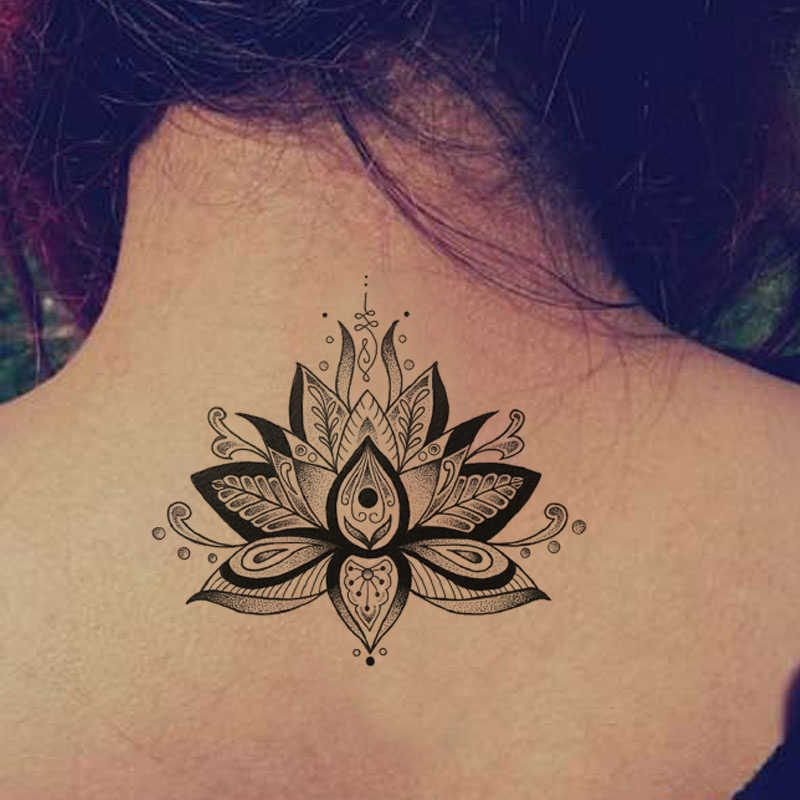 Lotus Blumen Große Temporäre Tattoo Aufkleber Wasserdichte Frauen Mädchen Zurück Schulter Brust Gefälschte Tattoos 11X15cm