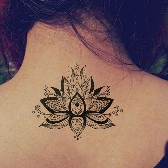 Waterproof Temporary Fake Tattoo Stickers Vintage Grey Lotus Flowers