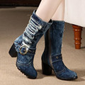 The new autumn and winter 2016 women's boots blue denim high rough with women's boots Martin boots free shipping bota feminina