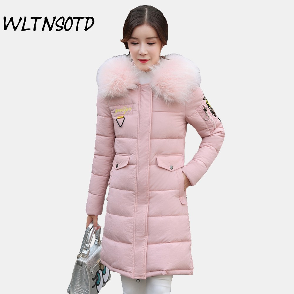 2017 winter new cotton coat women big Fur collar long badge pattern Hooded thick jacket  Female fashion Slim warm Parkas 2017 winter new cotton coat women slim long hooded thick jacket female fashion warm big fur collar solid hem bifurcation parkas