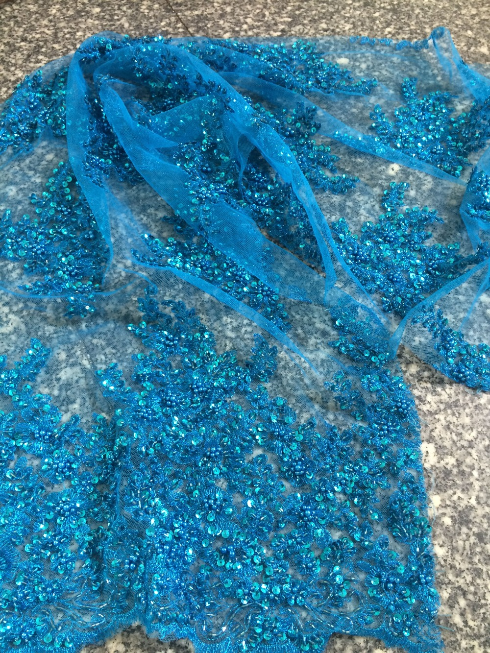 Tissu de dentelle africaine de luxe Z-han32126 avec perles de verre joli français Guipure tulle dentelle tissu de haute qualité - 2