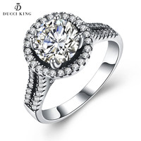 Fashion Luxury Women Engagement Jewelry 925 Sterling Silver 5A Cubic Crystal Zircon Female Wedding Party Finger