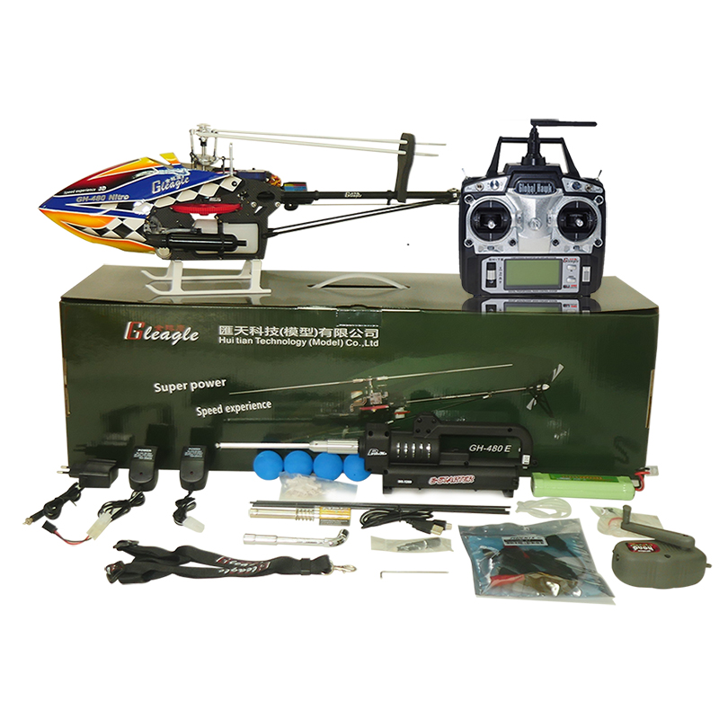 купить Gleagle 480N 2.4G 6CH RC Brushless Fuel Helicopter RTF Set W/ Gift box DFC 15-Engine 180CC Nitro helicpter 60A ESC/Carbon fiber недорого