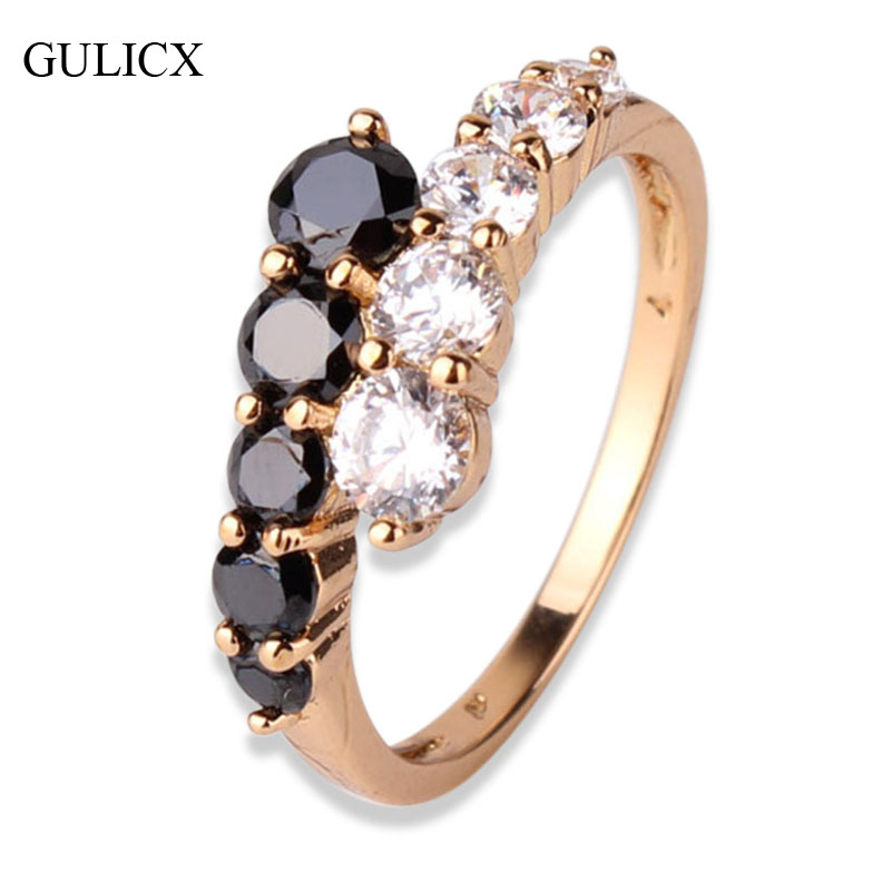 Fashion Engagement Rings for women Gold-color Mid Ring Black White Crystal Zirconia CZ Band Ring Wedding Rings Jewelry R110