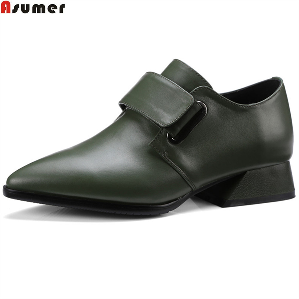 ASUMER black army green fashion new Arrival women pumps genuine leather shoes square heel pointed toe leisure med heels shoes new arrival multi ab color wedding shoes women s pumps luxury crystal shoes pointed toe square heel sheepskin real leather shoes