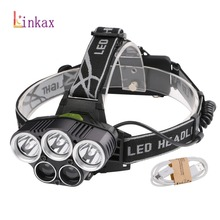 High power 6 Modes 15000Lm Headlight 5*T6 LED Head lamp hungting camping light with USB Cable use 2x18650 batteries