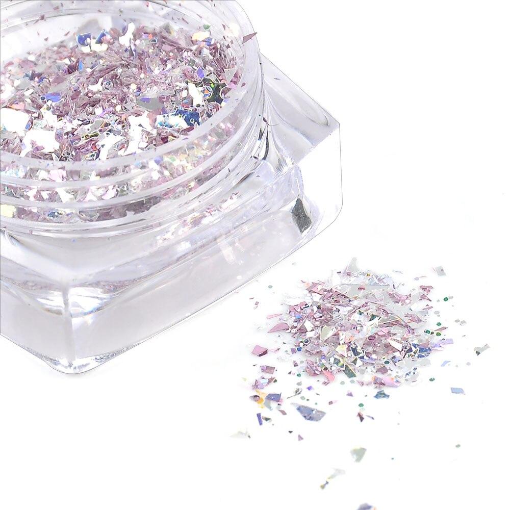 0,5g Chameleon Holographische Goldfolie Fragmente Laser Violet Nagel Pailletten Spiegel Pulver Nagel Glitter Flakes