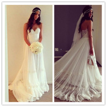 Beach Chiffon Bohemian Wedding Dress with Lace Tiered Sweetheart Romantic Bridal Gowns Vestidos De Novia Casamento Backless