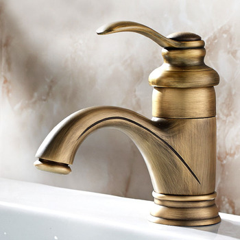 Antique Brass Cold And Hot Water Tap Single Handle Bathroom Vanity Sink Faucet Basin Deck Mount Mixer Tap KD535 antique brass bathroom faucet waterfall mixer one hole handle basin sink tap single handle mixer tap cold hot water faucet