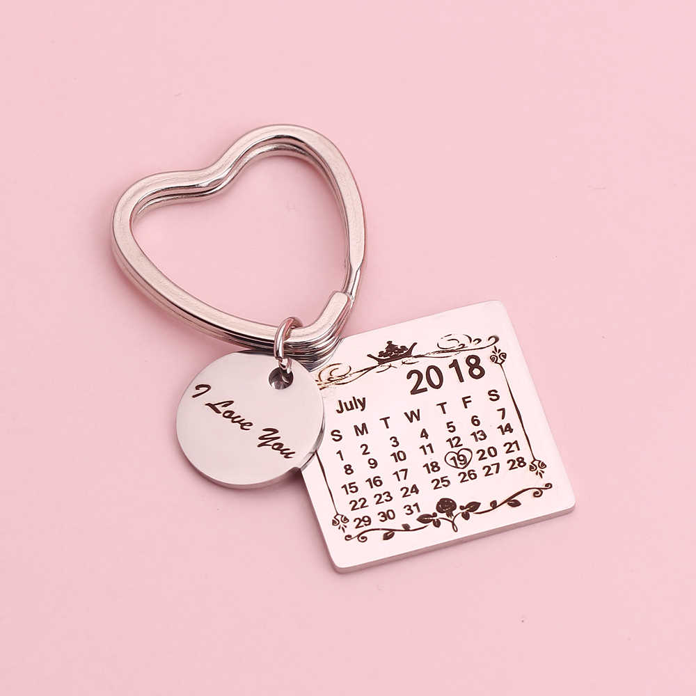 50c72e3ff601 Stainless Steel Personalized Calendar Keychain Custom I Love You ...